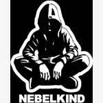 """Nebelkind Autofolie """"Human"""" und Logo klein, weiß in weiß"""
