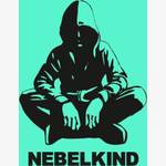 Nebelkind Car Sticker round, small, black in black