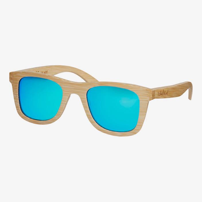 Nebelkind Bamboobastic Naturfarben (hellblau verspiegelt) Sonnenbrille in bambus naturfarben