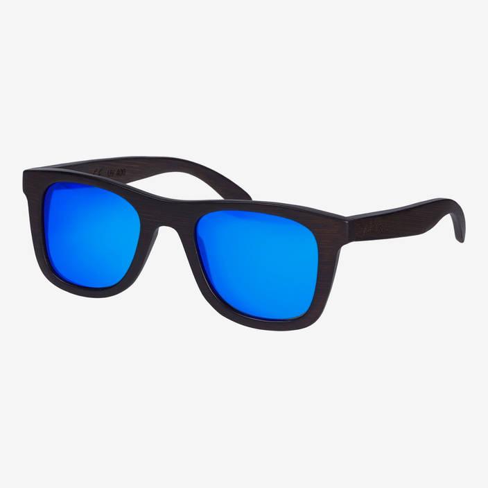 Nebelkind Bamboobastic Dunkelbraun (blau verspiegelt) Sonnenbrille in dunkelbraun gebeizt