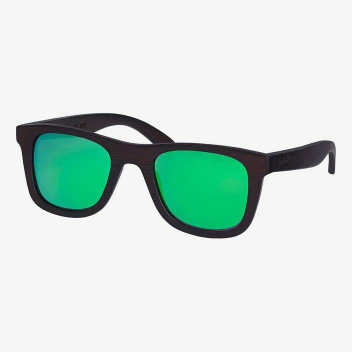 Nebelkind Bamboobastic Dunkelbraun (grün verspiegelt) Sonnenbrille in dunkelbraun gebeizt