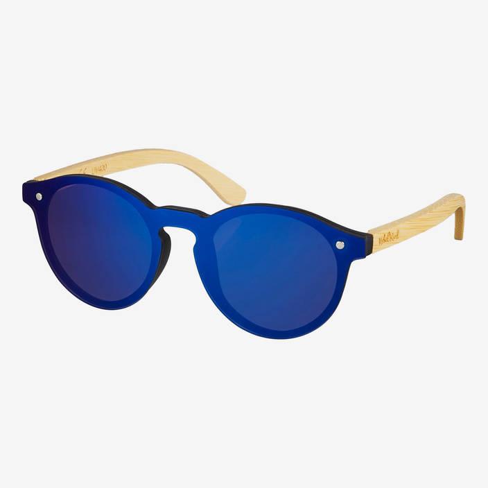 Nebelkind Hybrid Bambus Sonnenbrille Blau Verspiegelt in bambus naturfarben