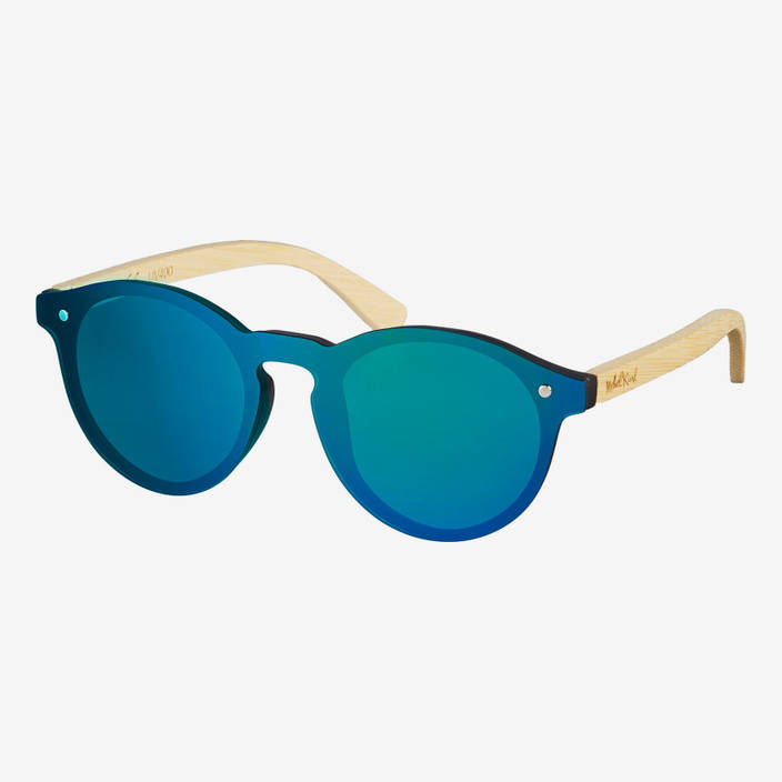 Nebelkind Hybrid Bamboo Green Mirrored Sunglasses in Natural-colored bamboo