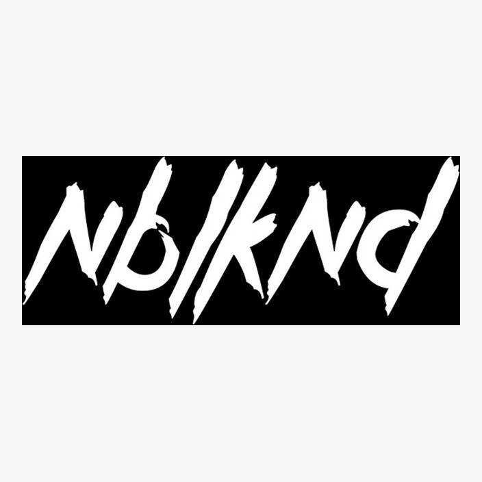 "Car Sticker ""NBLKND"" big, white in white"
