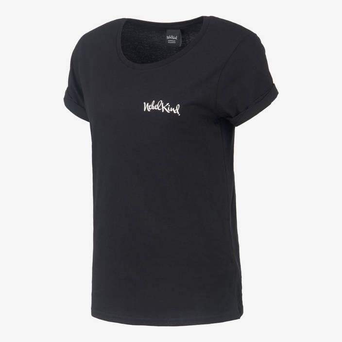 Nebelkind Basic Shirt Gerollte Ärmel Schwarz Frauen in schwarz