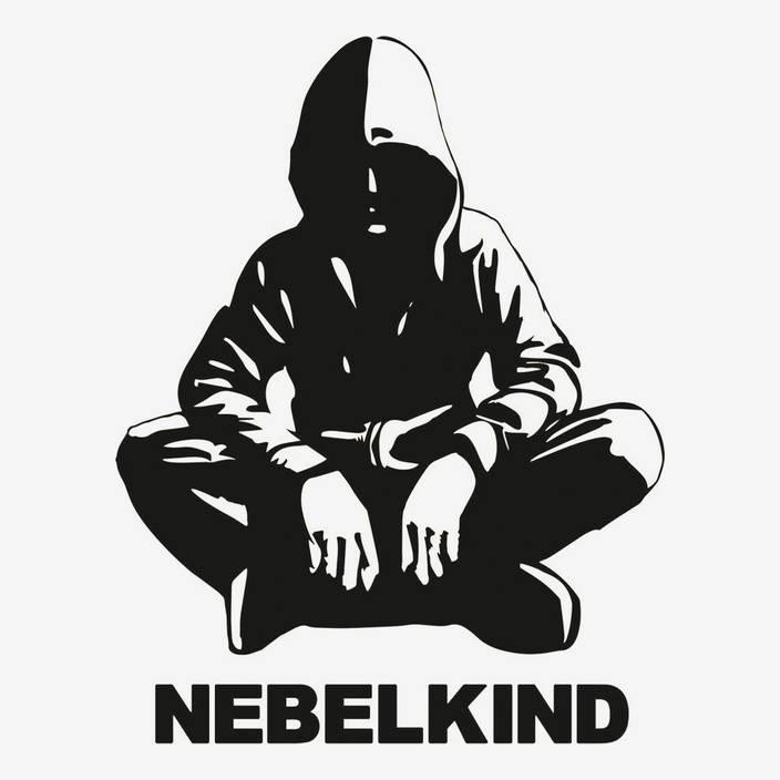 """Nebelkind Autofolie """"Human"""" und Logo groß, schwarz in schwarz"""