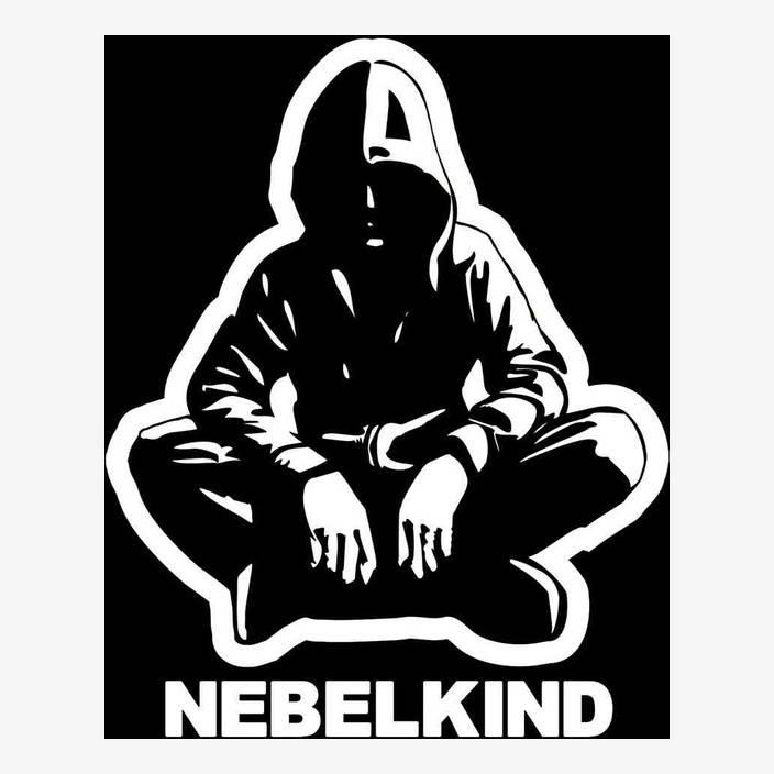 """Nebelkind Autofolie """"Human"""" und Logo groß, weiß in weiß"""