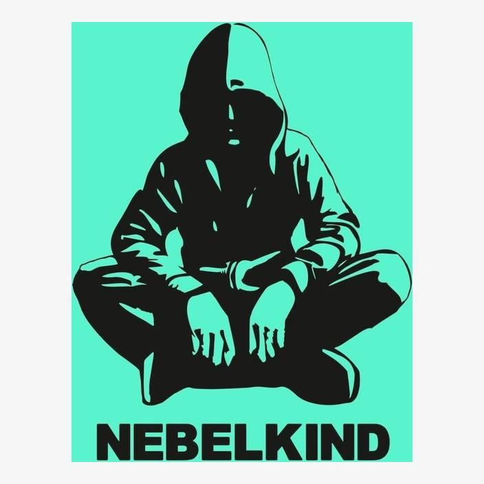 """Nebelkind Autofolie """"Human"""" und Logo klein, schwarz in schwarz"""