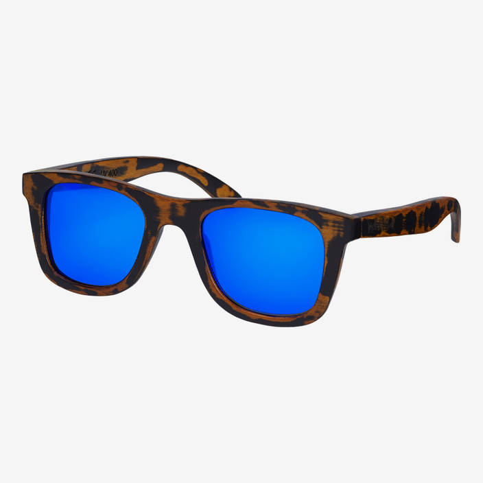 "Nebelkind Bamboobastic ""Used"" (blue mirrored) Sunglasses in dark brown used look"