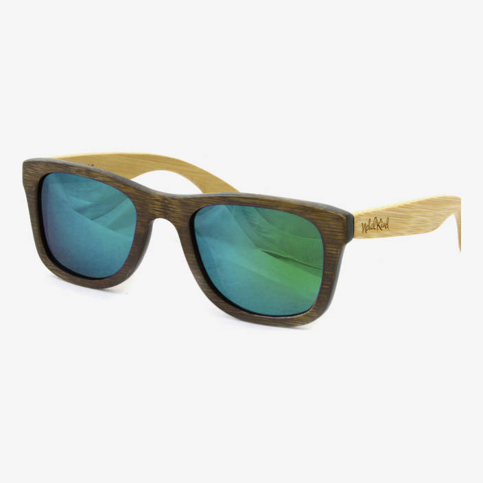 Nebelkind Bamboobastic darkbrown/nature (green mirrored) Sunglasses in Frame stained dark brown /  Temples natural-colored