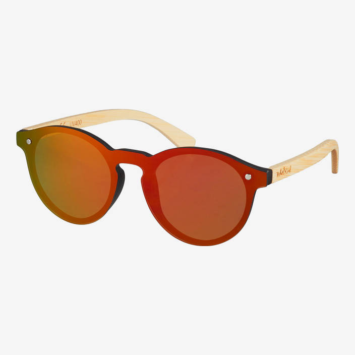 Nebelkind Hybrid Bamboo Red Mirrored Sunglasses in Natural-colored bamboo
