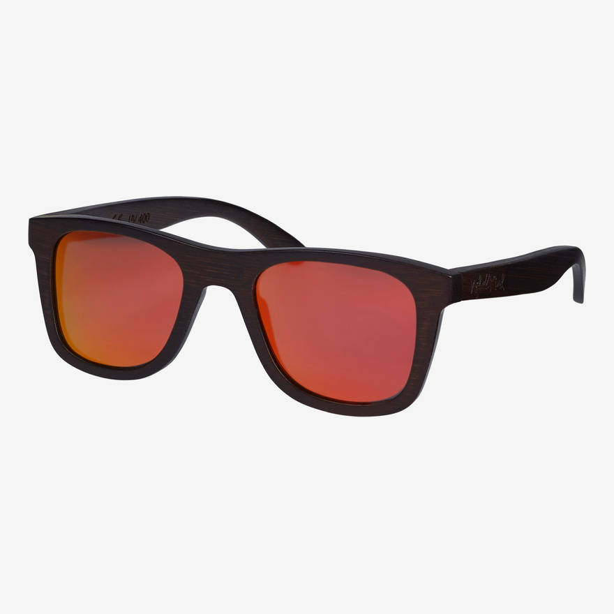 Nebelkind Bamboobastic darkbrown (red mirrored) Sunglasses in Stained dark brown