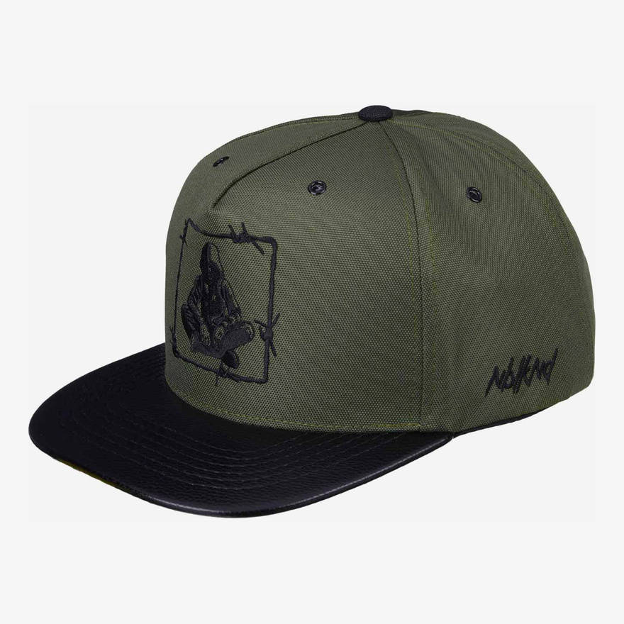 Nebelkind Barbed Wire Snapback in olive green