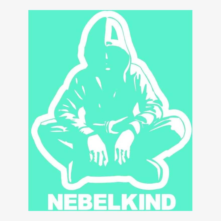 """Nebelkind Car Sticker """"Human"""" with Logo small, white in white"""