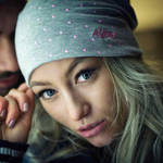 Nebelkind Summer Beanie Grey with Pink Dots and Logo in gray