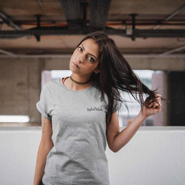 Nebelkind Basic Shirt Gerollte Ärmel Grau Frauen in graumeliert