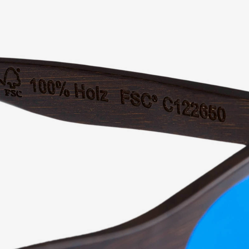 Nebelkind Bamboobastic darkbrown (blue mirrored) Sunglasses in Stained dark brown