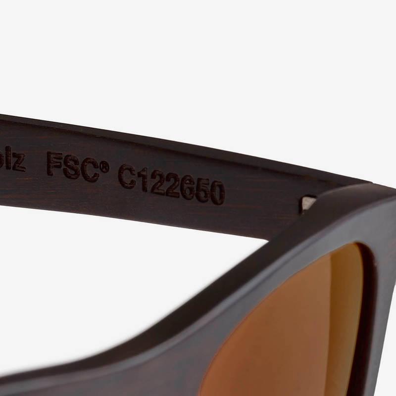 Nebelkind Bamboobastic Dunkelbraun (rot verspiegelt) Sonnenbrille in dunkelbraun gebeizt
