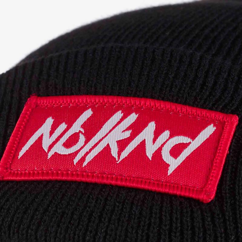 Nebelkind Folded Beanie Black with Logo in black