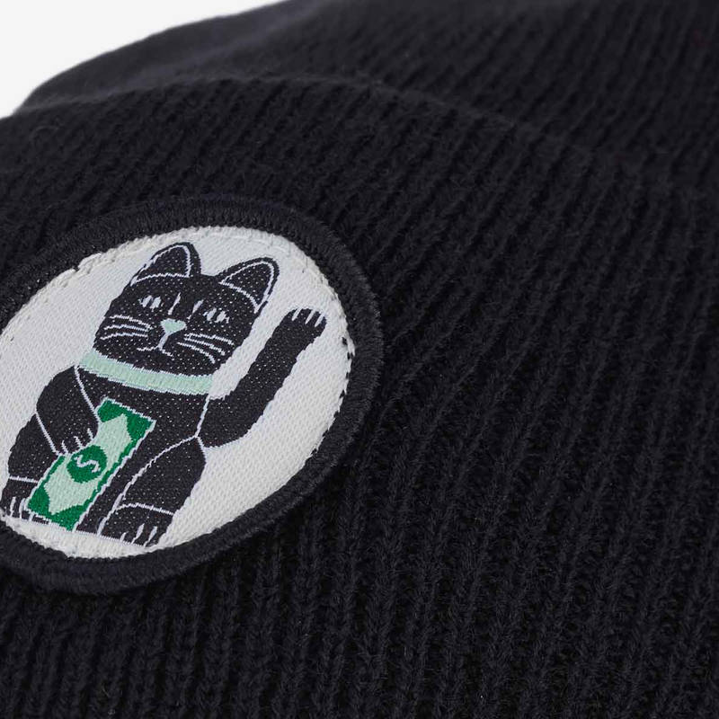 "Nebelkind Beanie ""Maneki-Neko"" in black"